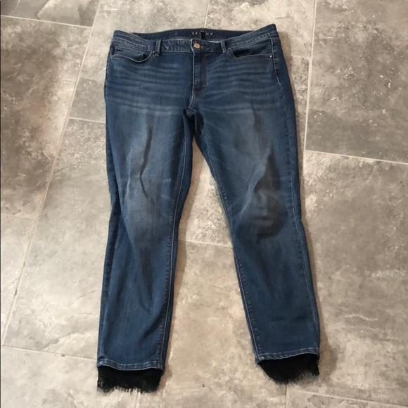 White House Black Market Denim - WHBM Skinny Ankle Lace Trim Jeans